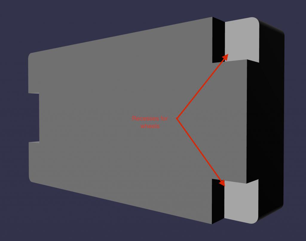 MyCaseBuilder design application 3D rendering showing back side of foam insert and recesses for wheels