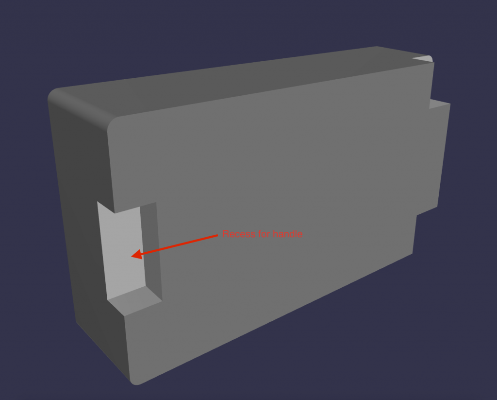 MyCaseBuilder design application 3D rendering showing back side of foam insert and recess for handle