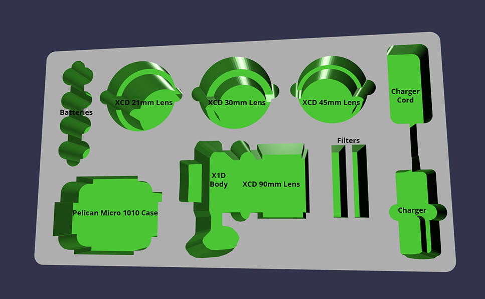 MyCaseBuilder design application 3D rendering showing item placement