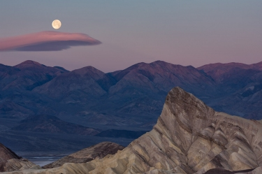 Zabriskie Point Moonset - Death Valley