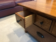 Coffee table dovetail drawer detail